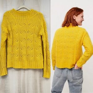 J. Crew Pointelle Cable Knit Sweater Rich Gold